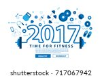 fitness equipment 2017 new year ... | Shutterstock .eps vector #717067942