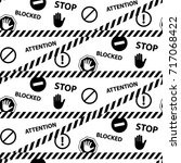 stop blocked attention danger... | Shutterstock .eps vector #717068422