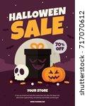 halloween sale poster. vector... | Shutterstock .eps vector #717070612