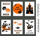 set of beautiful halloween... | Shutterstock .eps vector #717072922