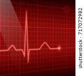 red line heart rate on the... | Shutterstock .eps vector #717072982