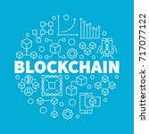 blockchain technology linear... | Shutterstock .eps vector #717077122