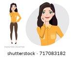 Stock vector vector illustration of a cute shy girl 717083182