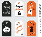 Set Of Gift Tags For Halloween. ...