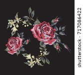 embroidery floral pattern with... | Shutterstock .eps vector #717086422