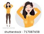 surprised shocked woman | Shutterstock .eps vector #717087658