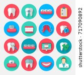 dentistry icons isolated in a... | Shutterstock .eps vector #717090892