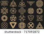 set of ancient symbols executed ... | Shutterstock .eps vector #717092872