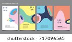 fluid retro color covers set....   Shutterstock .eps vector #717096565