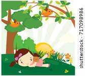 little girl playing alone in...   Shutterstock .eps vector #717098986