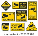 cctv sign  security camera... | Shutterstock .eps vector #717102982