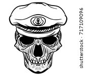 vintage naval skull drawing and ... | Shutterstock .eps vector #717109096