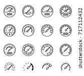meter icon set in thin line... | Shutterstock .eps vector #717112432