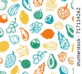 pattern with vector exotic... | Shutterstock .eps vector #717114262