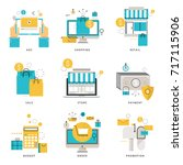 infographic flat line icons... | Shutterstock .eps vector #717115906