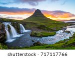 kirkjufell and its waterfall ... | Shutterstock . vector #717117766