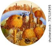 beautiful autumn city. hand... | Shutterstock . vector #717119395