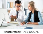 business people working with... | Shutterstock . vector #717120076