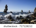 Small photo of Nature fantastic ocean stone rock wallpaper
