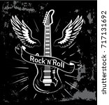 rock'n'roll written in ribbon ... | Shutterstock .eps vector #717131692