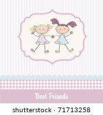 Stock vector two little girls best friends 71713258