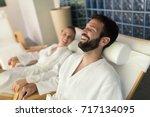 couple enjoying wellness spa... | Shutterstock . vector #717134095