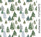 christmas dark green fir forest ... | Shutterstock .eps vector #717134572