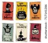set of halloween banner... | Shutterstock .eps vector #717141286
