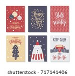 christmas gift cards or tags... | Shutterstock .eps vector #717141406
