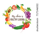 my choice is healthy leaving.... | Shutterstock .eps vector #717146032