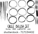 set of circle brush doodle... | Shutterstock .eps vector #717154432