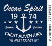 ocean spirit vintage t shirt... | Shutterstock .eps vector #717154885