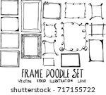 set of frame doodle... | Shutterstock .eps vector #717155722