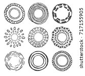 set of circle hand drawn shapes. | Shutterstock .eps vector #717155905