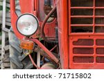Lamp Of An Old Red Tractor