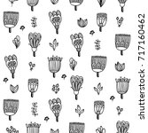 cute doodle floral seamless...   Shutterstock .eps vector #717160462