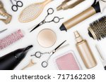 hairdressing tools and various... | Shutterstock . vector #717162208