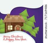 christmas greeting card. santa... | Shutterstock .eps vector #717169486