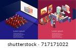 isometric flat 3d concept... | Shutterstock . vector #717171022