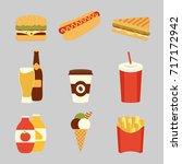 fast food set. potatoes fries ...   Shutterstock . vector #717172942
