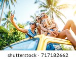 group of four russian female... | Shutterstock . vector #717182662