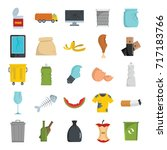 garbage flat icons set vector...   Shutterstock .eps vector #717183766