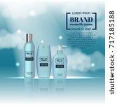 3d realistic cosmetic bottle... | Shutterstock .eps vector #717185188