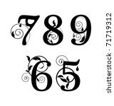 Floral Font. Numbers From 5til...