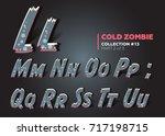 halloween vector zombie font.... | Shutterstock .eps vector #717198715