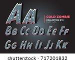 halloween vector zombie font.... | Shutterstock .eps vector #717201832