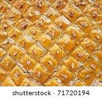 Baklava eastern sweet dessert closeup - stock photo