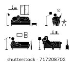 stick figure resting at home... | Shutterstock .eps vector #717208702