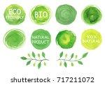 set of watercolor green logo... | Shutterstock . vector #717211072