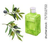 bottle of oil and olive branch. ... | Shutterstock . vector #717212722